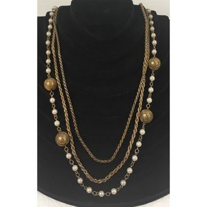 Jewelry - Ladies 26 Inch Layered Chain and Pearl Necklace